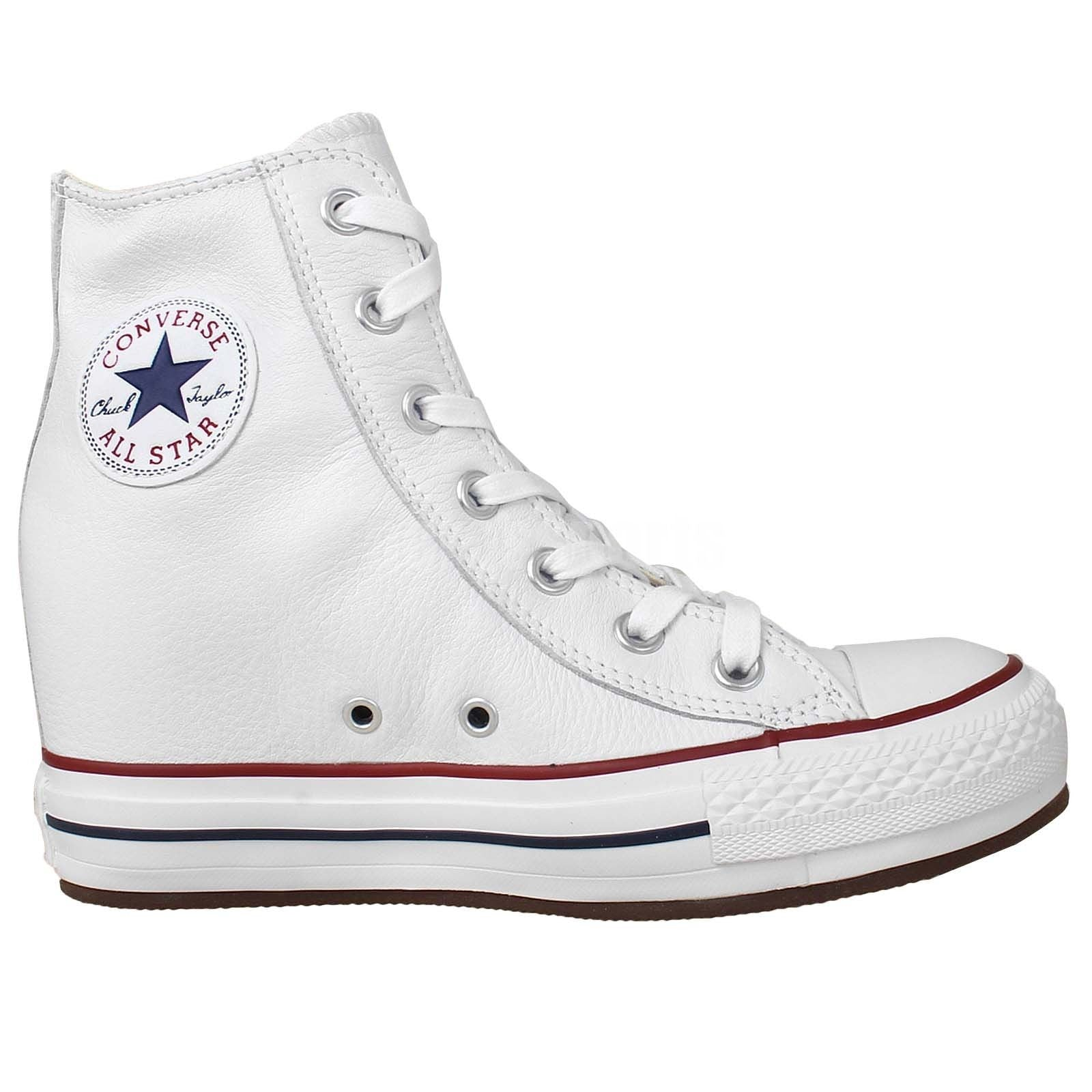 c0efd9ddb44e Converse Chuck Taylor All Star Plat Plus Hi White Leather Wedge 544927C  Soft Leather Famous Rock ...