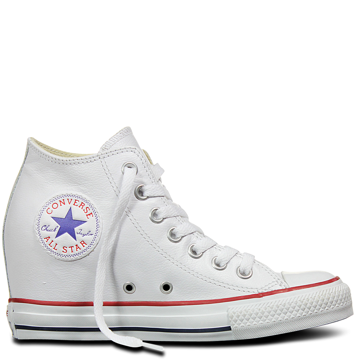 4224cb9b0127 Converse Chuck Taylor All Star Lux Mid Hi White Leather Wedge 549560C  Smooth Leather Famous Rock ...