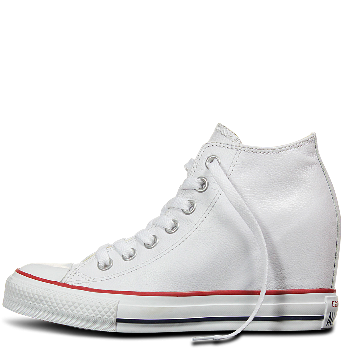 3d5cede5026d ... Converse Chuck Taylor All Star Lux Mid Hi White Leather Wedge 549560C  Smooth Leather Famous Rock ...