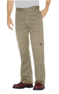 Dickies 85283 Loose Fit Double Knee Khaki Men's Work Pants  Reinforced double knee for super durability- Extra pocket on leg- Wrinkle resistant; Stain release finish- Permanent crease Loose fit. Convenient extra pocket on leg. 8.5 oz. twill fabric, 65% polyester/35% cotton Famous Rock Shop Newcastle 2300 NSW Australia