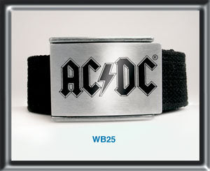 ACDC Black Web Belt BWB25 Famousrockshop