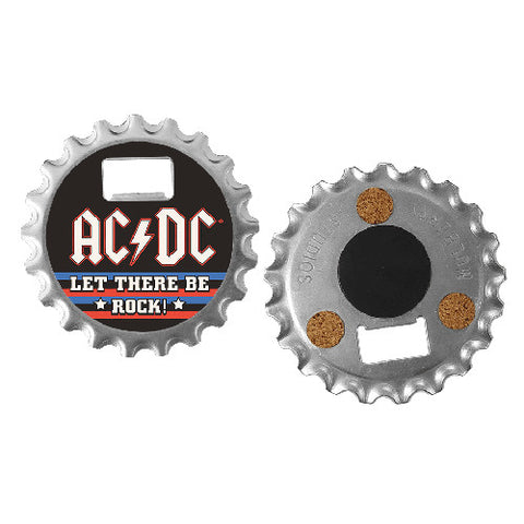ACDC Bottle Opener CoasterAC019B - tough steel bottle opener- rubberised fridge magnet- cork protection on back for use as a coaster Famous Rock Shop  Newcastle 2300 NSW Australia