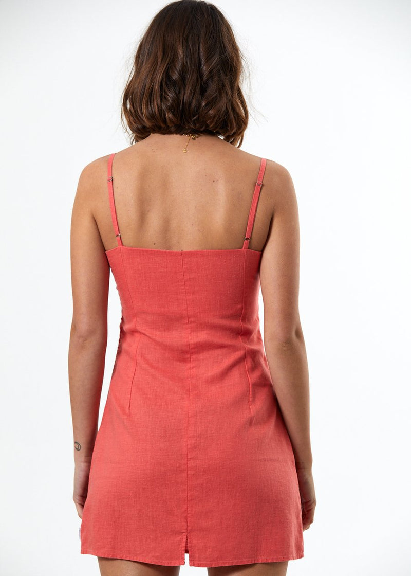 Afends Kate Hemp Slip Dress Coral