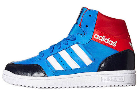 Adidas Originals Pro Play Kids D67923  Sizes Kids 11-6. BLUBIR/RUNWHT/COLRED Features: Boys Sneakers Colour: Bluebird Red White PU-coated Leather and Nylon upper with colourblocked toe, heel and collar Hi-top  Famous Rock Shop. 517 Hunter Street Newcastle, 2300 NSW Australia