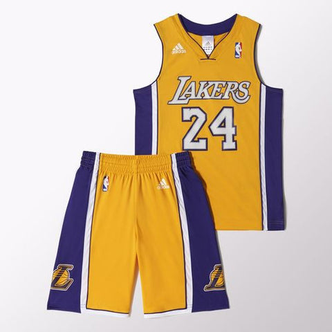Adidas NBA Youth LA Lakers Yellow Set Jersey & Shorts