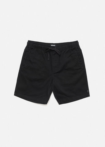"Afends Dendy Elastic Waist Walkshort 17"" Black M183361 Famous Rock Shop Newcastle 2300 NSW Australia"