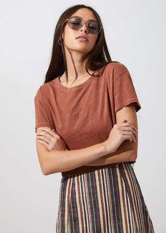 Afends Donna Wide Neck Cropped Tee Tobacco W194003 Famous Rock Shop Newcastle, 2300 NSW. Australia. 1