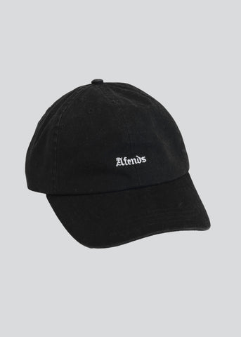 Afends Jonsson Curved Brim Cap Black Adjustable Strap One Size