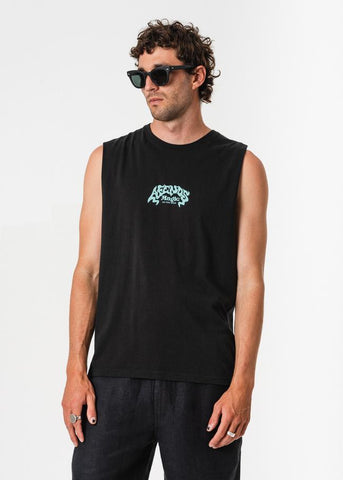 Afends Magic Mushroom Bandcut Tee Black Famous Rock Shop Newcastle, 2300 NSW. Australia. 1