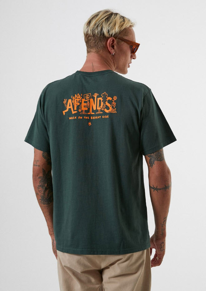 Afends Men's Bright Side Retro Fit Tee Forest M191010 Famous Rock Shop Newcastle, 2300 NSW. Australia. 1