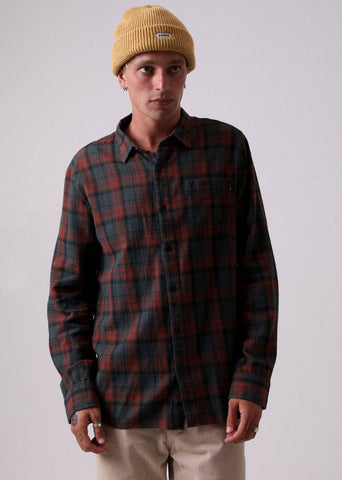 Afends Men's Tinnie Long Sleeve Shirt Forest M191250 Famous Rock Shop Newcastle, 2300 NSW. Australia. 1