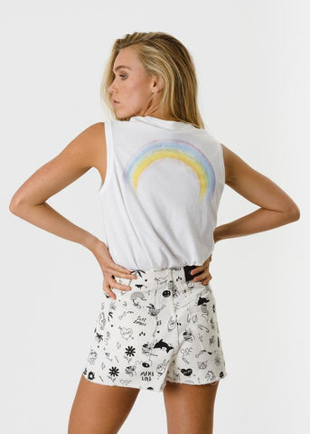 Afends Rudey Rainbow Retro Fit Tank White Famous Rock Shop Newcastle, 2300 NSW. Australia. 1