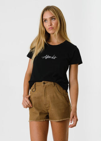 Afends Script Standard Fit Tee Black Famous Rock Shop Newcastle, 2300 NSW. Australia. 1