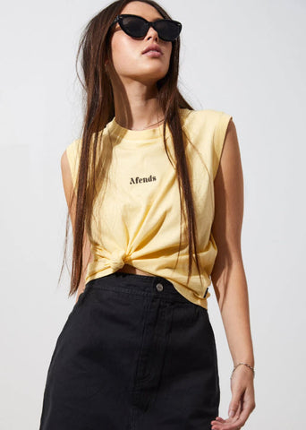 Afends Women's Baby Retro Bandcut Tee Sunshine W194081 Famous Rock Shop Newcastle, 2300 NSW. Australia. 1