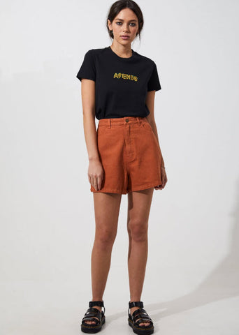 Afends Women's Seventy Threes Twill Short Tobacco M194320 Famous Rock Shop Newcastle 2300 NSW. Australia. 1