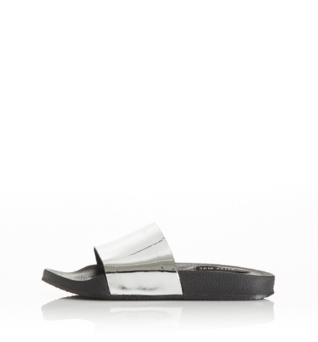 Alias Mae RIA Silver Mirror Slides 100% Leather Upper 100% Leather Lining Man-made Outer sole. Famous Rock Shop. 517 Hunter Street Newcastle, 2300 NSW. Australia.