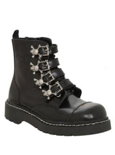 Anarchic 4 Buckle Boots Black