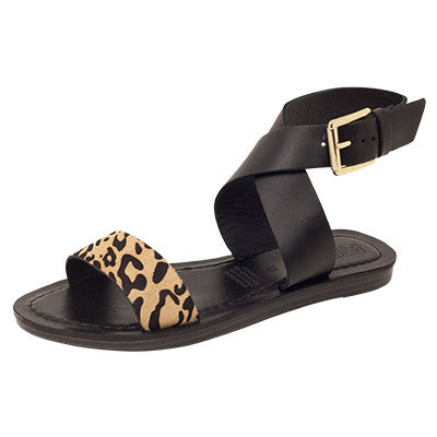 Roc Batik Black Leopard Leather Sandals