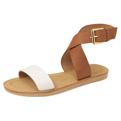 Roc Batik Tan White Leather Sandals