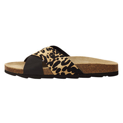 Roc Bintan Black Leopard Leather Sandals