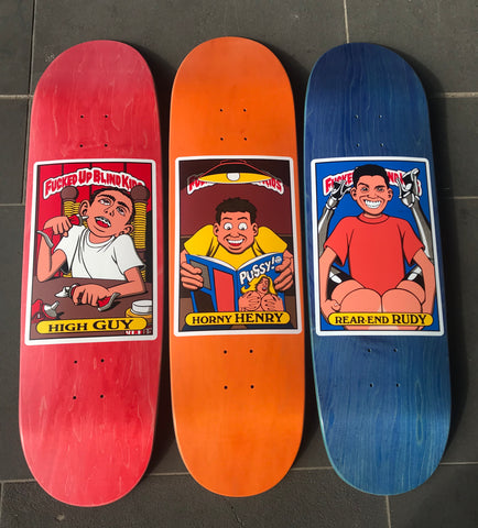 BLD FUBK Horny Henry SP Sanchez 9.0 BLD FUBK High Guy SP Guy Mariano 9.0 BLD FUBK Rear End Rudy SP Rudy Johnson 9.0 Famous Rock Shop Newcastle NSW Australia