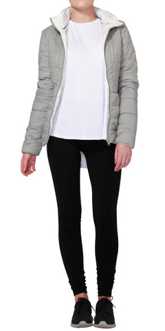 Betty Basics Thatcher Puffer Jacket White / Light Grey