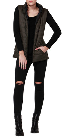 Betty Basics Zayn Puffer Vest Black / Olive