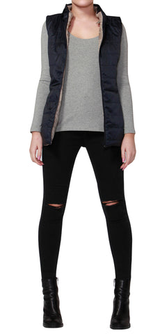 Betty Basics Zayn Puffer Vest Carbon Navy / Beige