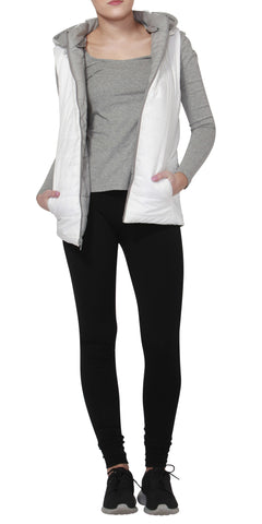 Betty Basics Zayn Puffer Vest White / Light Grey
