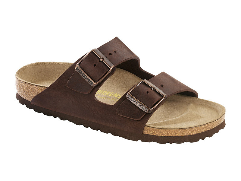 Birkenstock Arizona Oiled Leather in Habana Regular Fit Classic Footbed - Suede Lined