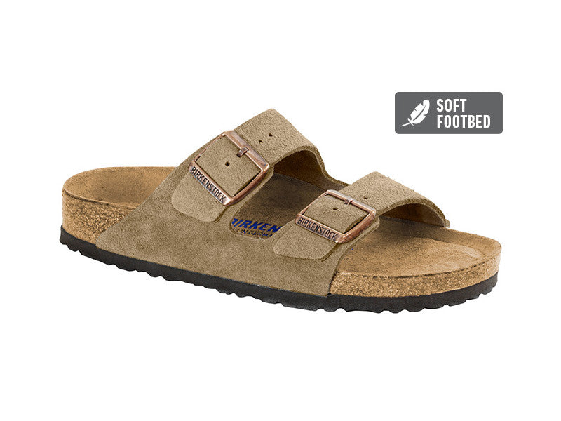 Birkenstock Arizona SFB Suede Leather in Taupe Soft Footbed - Suede Lined Narrow 0951303