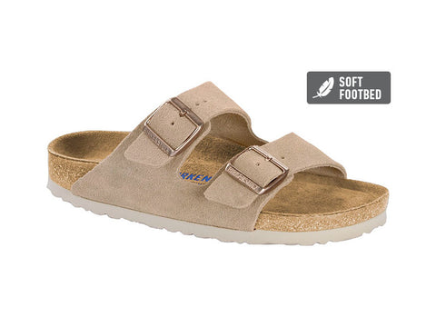 Birkenstock Arizona BS  Nude Narrow Fit Suede Leather in Nude Soft Footbed - Suede Lined Slip-On Sandals 1014207