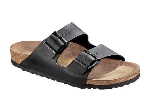 Birkenstock Arizona Narrow Fit Birko-Flor in Black Classic Footbed - Suede Lined Slip-On Sandals 0051793