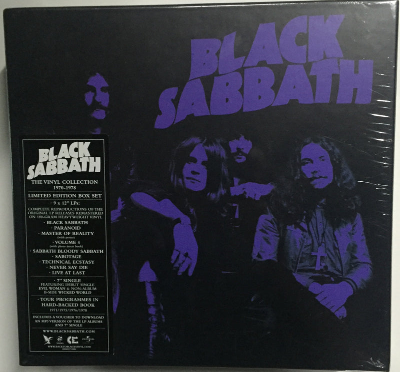 "Black Sabbath The Vinyl Collection 1970-1978 Limited Edition Box Set 9 x 12"" LP's Complete reproductions of the original LP releases remastered on 180-gram heav Famous Rock Shop Newcastle. 517 Hunter Street Newcastle. 2300 NSW Australia"