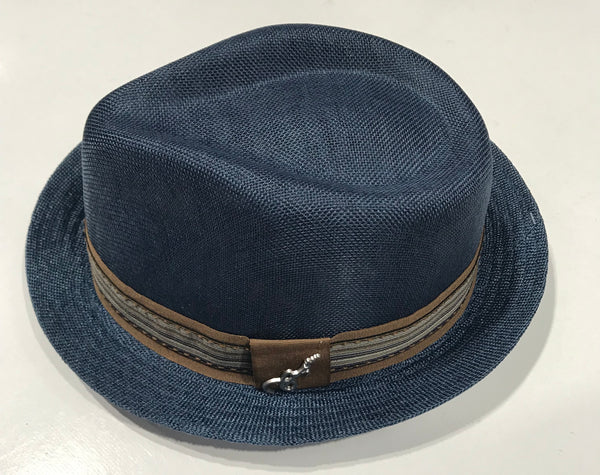 6f254655313f Carlos Santana Blue Fedora Gros Grain with Band & Guitar Pin ...