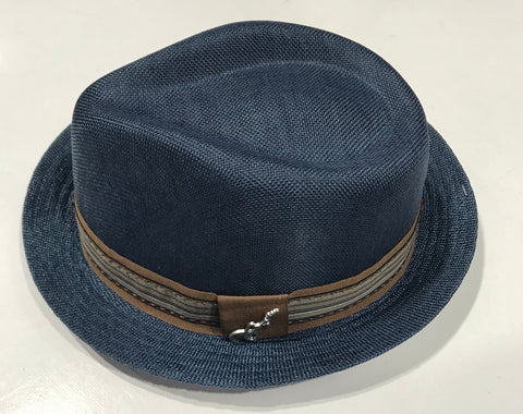 Carlos Santana Blue Fedora Gros Grain with Band & Guitar Pin SAN 359 Famous Rock Shop Newcastle NSW Australia