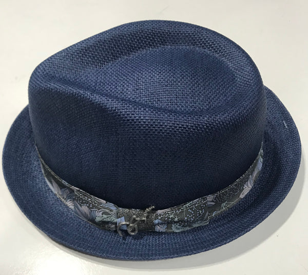 Carlos Santana Fedora with Floral Band Guitar Pin Navy Essence san361 Famous Rock Shop Newcastle NSW Australia