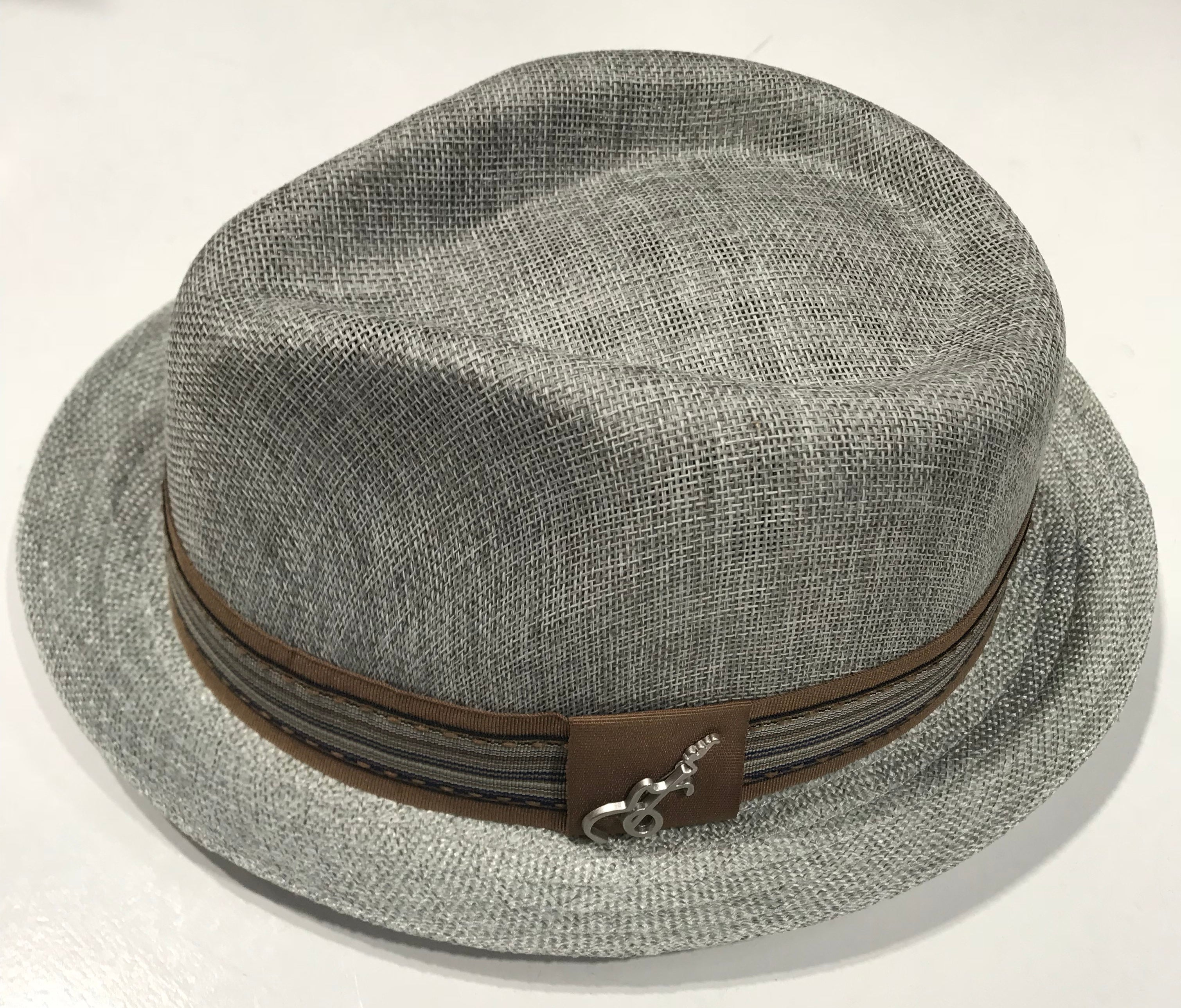 24045c6619c4 Carlos Santana Grey Fedora Gros Grain with Band & Guitar Pin SAN 359 Famous  Rock Shop