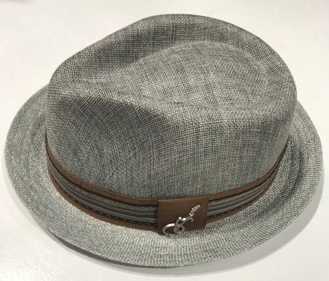 Carlos Santana Grey Fedora Gros Grain with Band & Guitar Pin SAN 359 Famous Rock Shop Newcastle NSW Australia