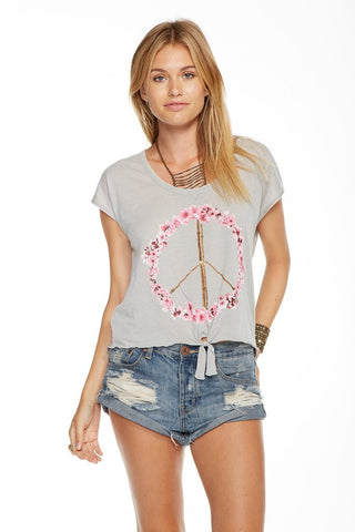 Chaser Pink Blossom Tee Grey