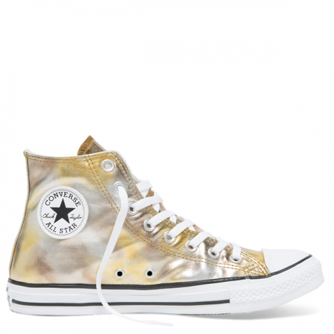 Converse CT AS Washed Metallic High Top Silver Gold White 157620C