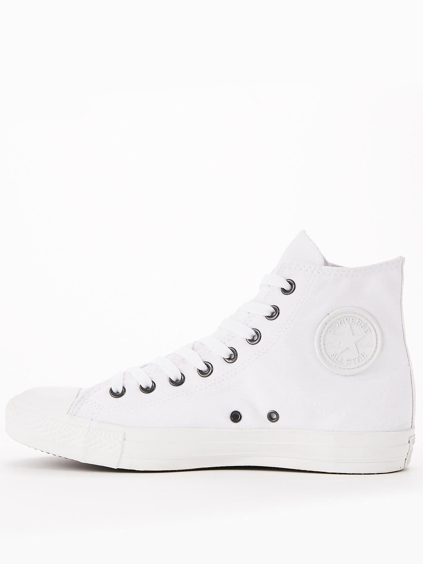 af437e2391e9 Converse Chuck Taylor All Stars White Monochrome Hi with silver eyelets