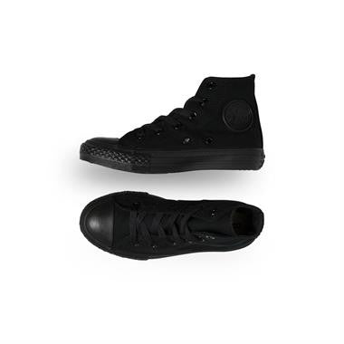 Converse Kids Youth Chuck Taylor All Star Hi Black Monochrome Canvas shoe 3S121C Youth USA sizing shoe Famous Rock Shop Newcastle 2300 NSW Australia