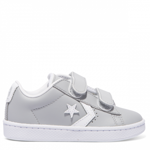 9bbe49f327e1d9 Converse Pro Leather 2V Toddler Low Grey White shoes – Famous Rock Shop