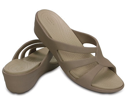 d857342255a3 Crocs Women s Sanrah Strappy Wedge Sandals Mushroom   Cobblestone ...