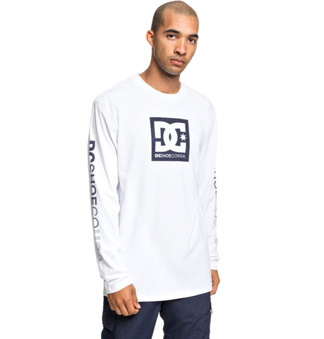 DC Men's Square Star Long Sleeve T-Shirt Snow White UDYZ03598 Famous Rock Shop Newcastle, 2300 NSW. Australia. 1