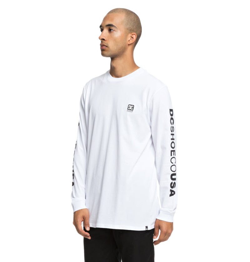 DC Men's Wordarm Taped Long Sleeve T-Shirt Snow White UDYZT03587 Famous Rock Shop Newcastle, 2300 NSW. Australia. 2
