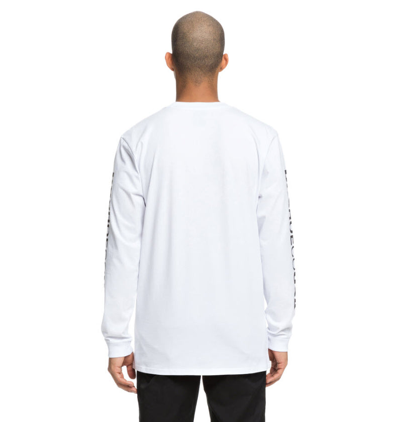 DC Men's Wordarm Taped Long Sleeve T-Shirt Snow White UDYZT03587 Famous Rock Shop Newcastle, 2300 NSW. Australia. 3