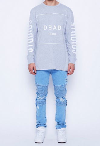 DEAD Studios 2026 Outline Long Sleeve Tee Grey Marle