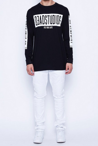DEAD Studios Distort Logo Long Sleeve Tee Black
